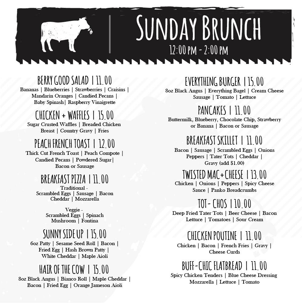 ask + Cow Sunday Brunch Menu
